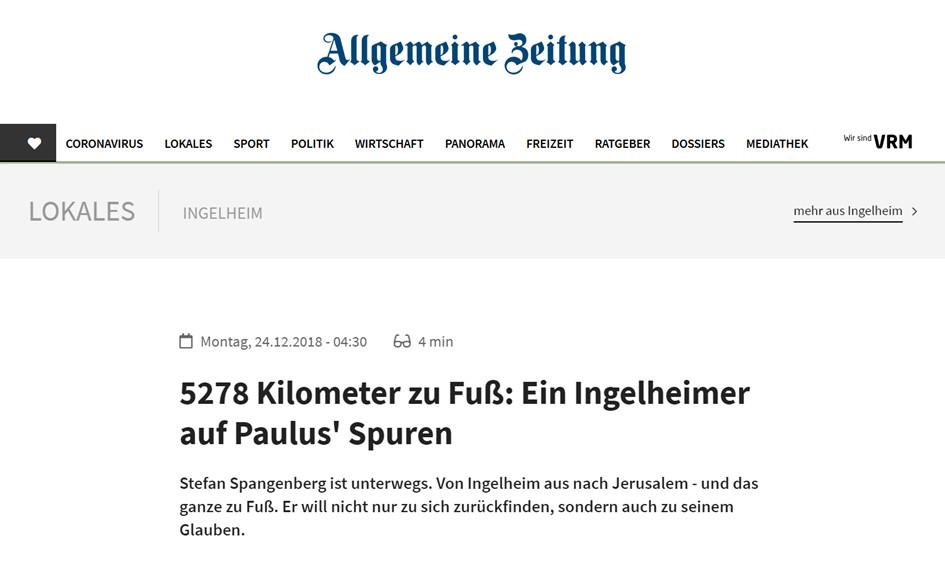 Mainzer Allgemeine Zeitung berichtet über Stefan Spangenberg