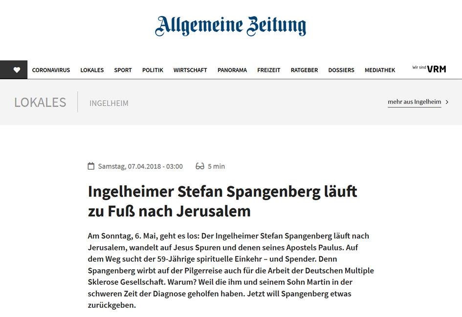 Presseartikel Mainzer Allgemeine Zeitung Stefan Spangenberg