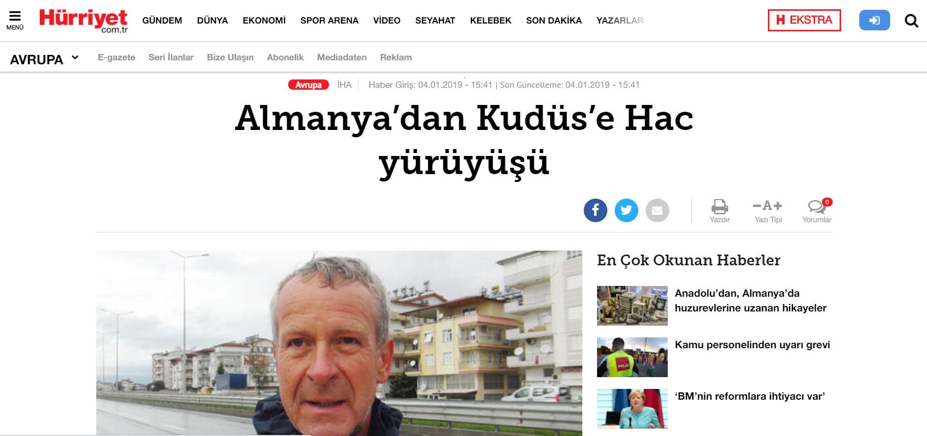 Stefan Spangenberg in der türkischen Zeitung Hürriyet